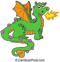 lindo, cola, largo, dragón