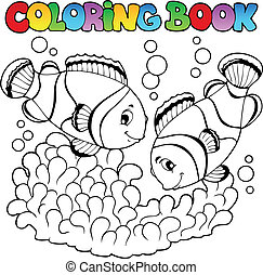 lindo, colorido, dos, payaso, libro, peces