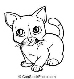 lindo, colorido, ilustración, gato, vector, caricatura, ...