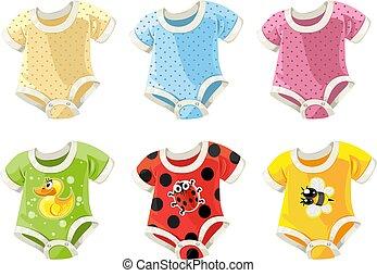 lindo, colorido, trajes, bebes