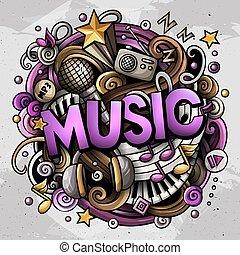 lindo, colorido, word., ilustración, música, doodles, caricatura