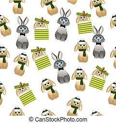 lindo, conejo, bufanda