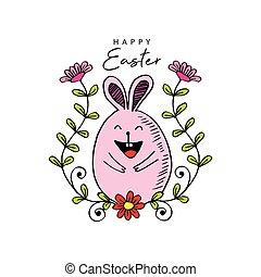 lindo, conejo pascua, feliz