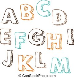 lindo, conjunto, a-m, mano, vector, font., dibujado, cartas
