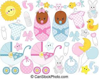 lindo, conjunto, accesorios, niño, ducha, vector, juguetes, nena