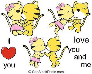 lindo, conjunto, amor, tigre, encantador, caricatura