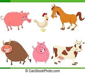 lindo, conjunto, animal, granja, caracteres, caricatura