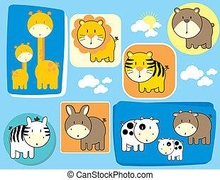 lindo, conjunto, animales