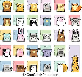 lindo, conjunto, animales, icono