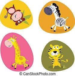 lindo, conjunto, animales, ilustración