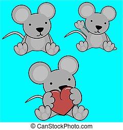 lindo, conjunto, bebé, encantador, ratón, caricatura