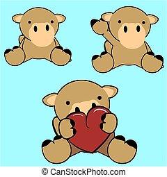 lindo, conjunto, camello, bebé, encantador, caricatura