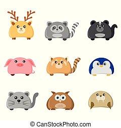 lindo, conjunto, carácter, animal, ilustración