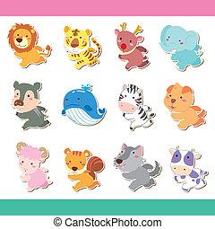 lindo, conjunto, caricatura, animal, icono