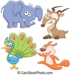 lindo, conjunto, caricatura, animal