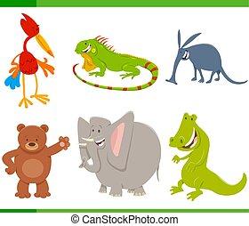 lindo, conjunto, caricatura, caracteres, animal
