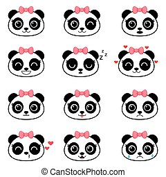 lindo, conjunto, caricatura, emociones, panda