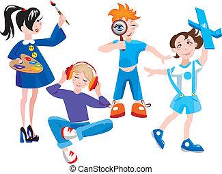 lindo, conjunto, caricatura, niños
