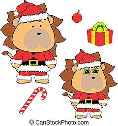 lindo, conjunto, claus, colección, navidad, león, disfraz, caricatura