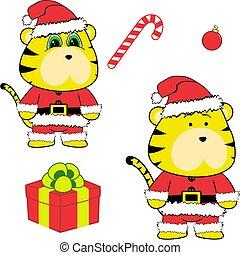 lindo, conjunto, claus, colección, navidad, tigre, disfraz, caricatura