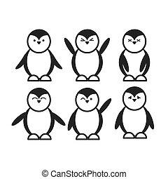 lindo, conjunto, divertido, plano, negro, pingüino, icono