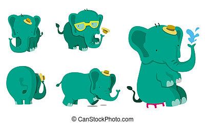 lindo, conjunto, elefante
