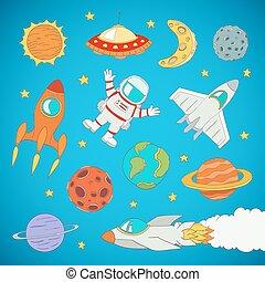 lindo, conjunto, espacio exterior, ilustración, astronauta, vector, planetas, caricatura, rockets.