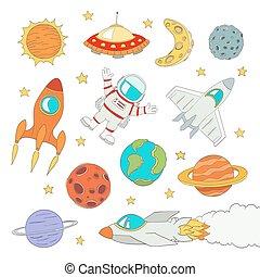 lindo, conjunto, espacio exterior, ilustración, astronauta, vector, planetas, elementos, rockets.