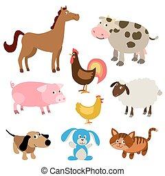 lindo, conjunto, granja, ilustración, animals., vector, caricatura