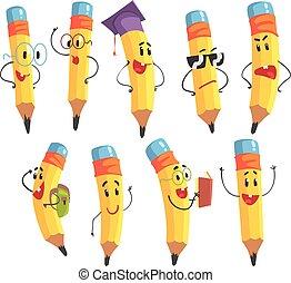 lindo, conjunto, lápiz, carácter, brazos, cara, ilustraciones, humanized, emoji