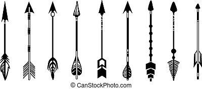 lindo, conjunto, mano, hipster, flechas, dibujado, doodles
