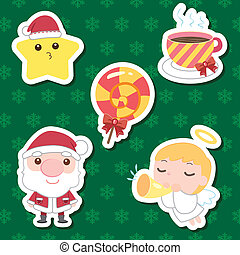 lindo, conjunto, navidad, caricatura