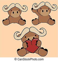 lindo, conjunto, toro, bebé, encantador, caricatura