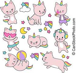 lindo, conjunto, unicornios, gato, catroon, vector, blanco