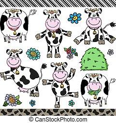 lindo, conjunto, vaca, elementos, digital