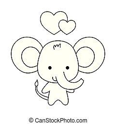 lindo, corazones, amor, animal, elefante