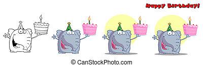 lindo, cumpleaños, elefante