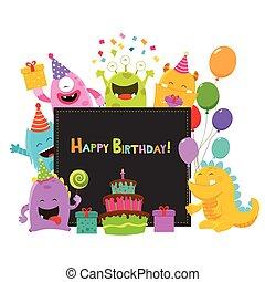 lindo, cumpleaños, monstruos, tarjeta
