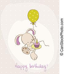 lindo, cumpleaños, tarjeta de felicitación, conejito