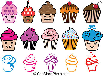 lindo, cupcake, diseños, vector, conjunto