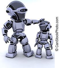 lindo, cyborg, niño de robot
