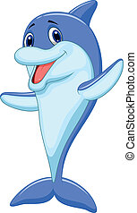 lindo, delfín, caricatura, ondulación