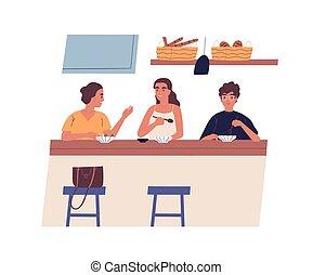 lindo, desayuno, style., o, grupo, joven, cafe., reunión, ...