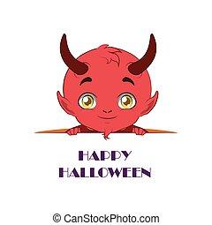 lindo, diablo, texto, halloween, echar una ojeada, abajo, ...