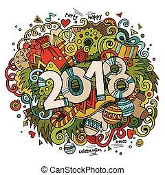 lindo, dibujado, ilustración, mano, vector, 2018, año, ...
