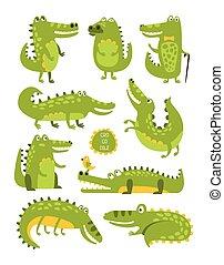 lindo, diferente, infantil, carácter, cocodrilo, posturas, pegatinas