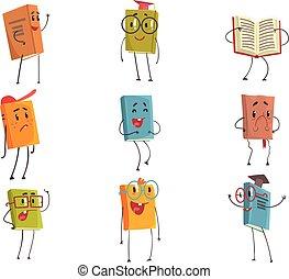 lindo, diferente, niños, representar, literatura, libro de la escuela, libros, caracteres, humanized, tipos, emoji
