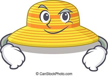 lindo, diseño, sombrero, confiado, verano, teniendo, arrogante, gesto, caricatura