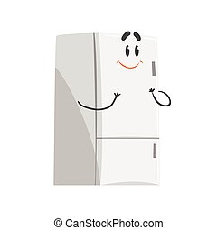 lindo, divertido, carácter, aparato, refrigerador, ilustración, vector, hogar, sonriente, humanized, caricatura