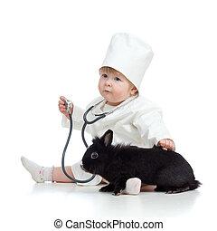 lindo, doctor, mascota, aislado, niño, blanco